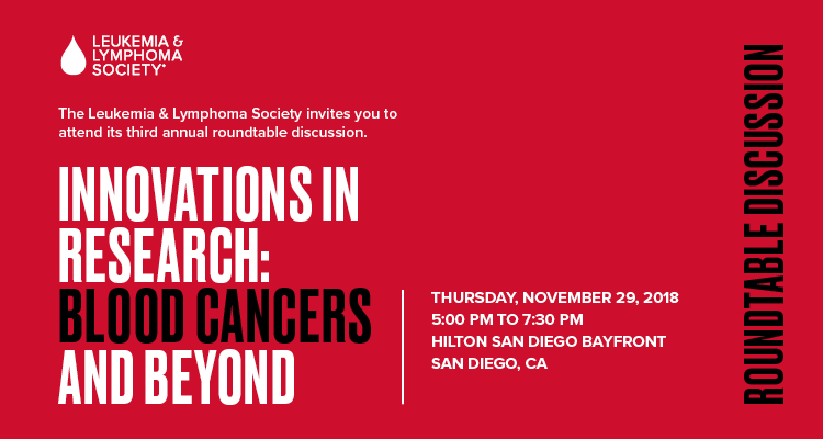 LLS Innovations in Research: Blood Cancers and Beyond (LIVE STREAM LINK - http://cdn.digitalservices.online/ASH/)