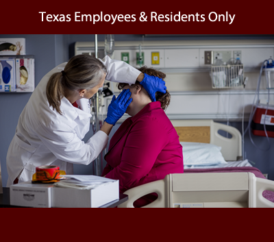 adult being examined by forensic nurse announcing course for Texas employees and Texas residents only