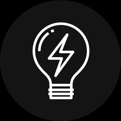 Lightbulb with lighting bolt