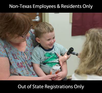 child being examined by forensic nurse announcing course for non Texas employees and residents only