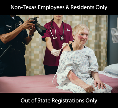 adult being examined by forensic nurse announcing course for non Texas employees and non Texas residents only