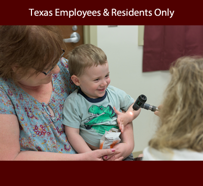 child being examined by forensic nurse announcing course for Texas employees and Texas residents only