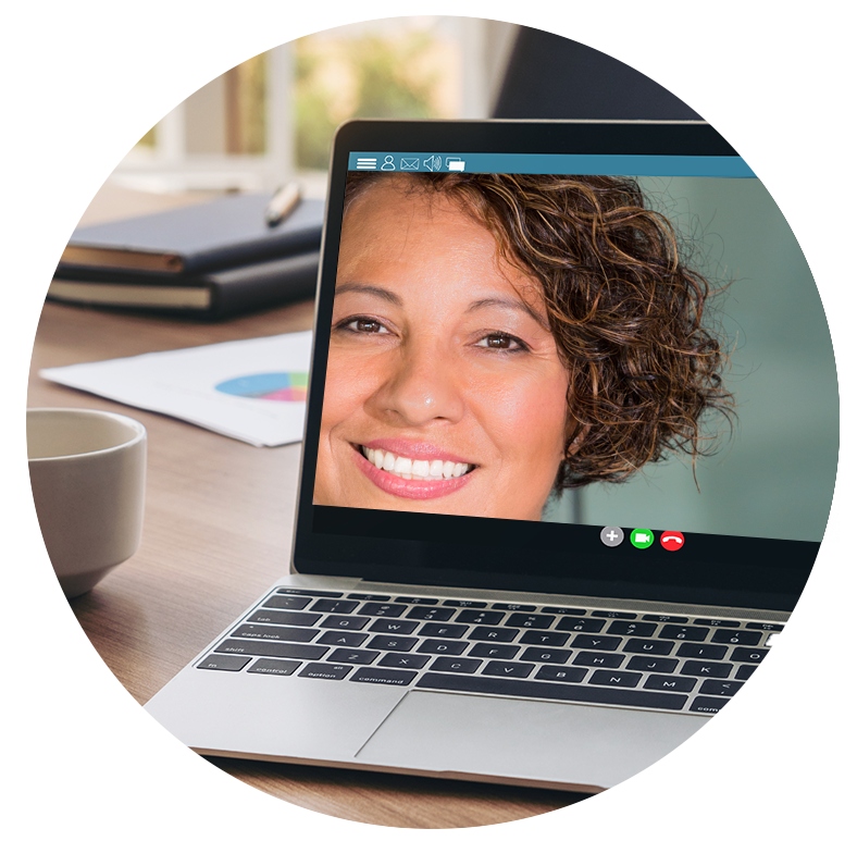 Laptop with women face on screen