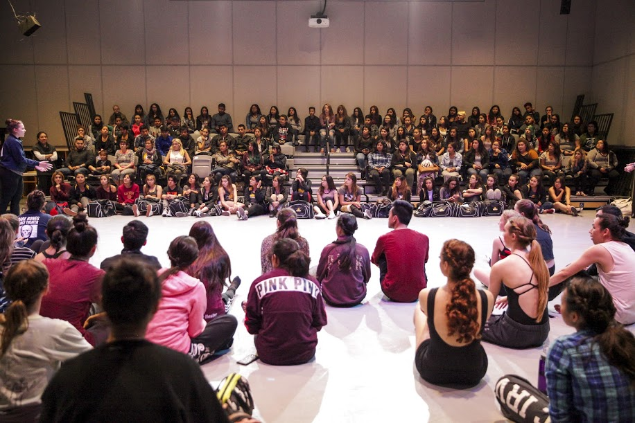 Students with audience in a performance studio