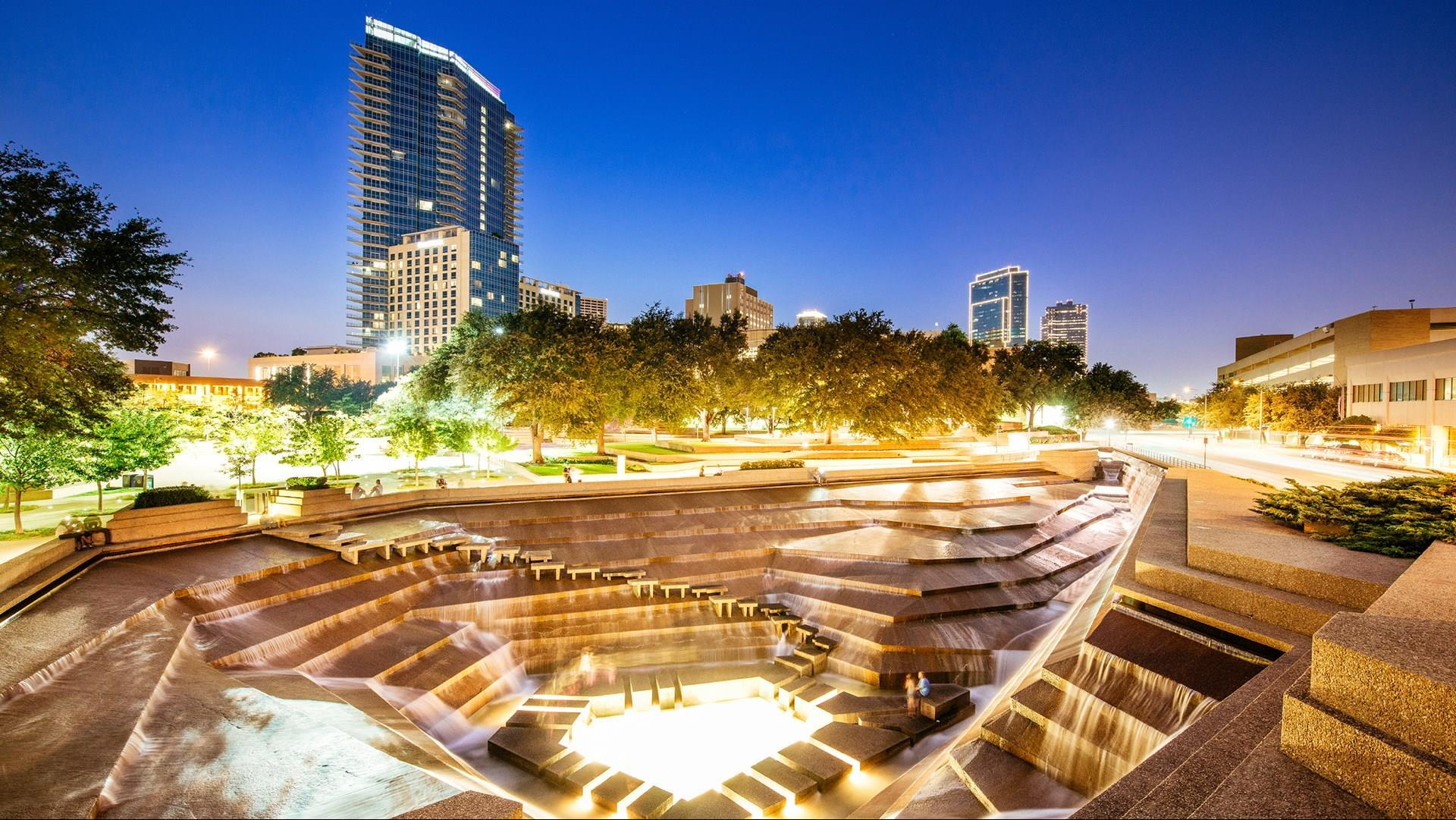Omni Fort Worth as seen from the Fort Worth Water Gardens.