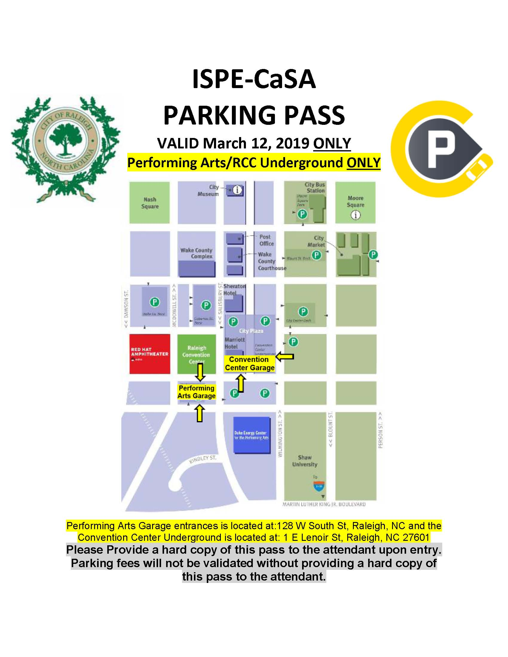 ISPE-CaSA 2016 Technology Conference PARKING MAP & PASS